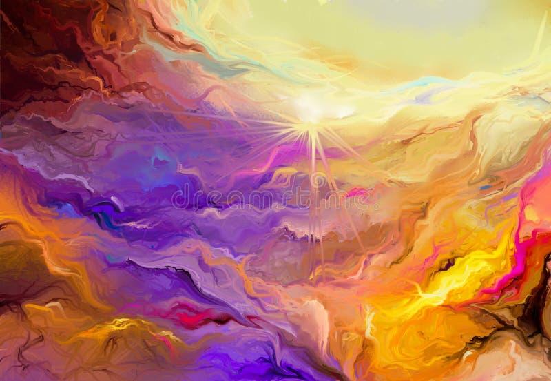 Pintura al óleo colorida abstracta en textura de la lona ilustración del vector