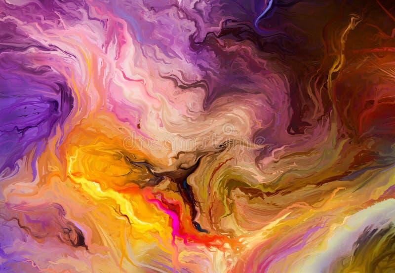 Pintura al óleo colorida abstracta en textura de la lona libre illustration