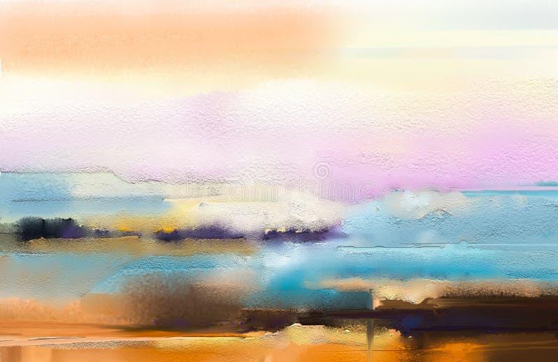 Pintura al óleo colorida abstracta en textura de la lona stock de ilustración