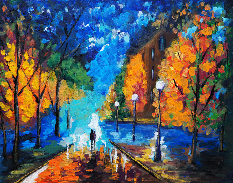Pintura al óleo - datación esta noche stock de ilustración