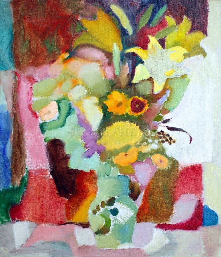 Pintura al óleo de flores libre illustration