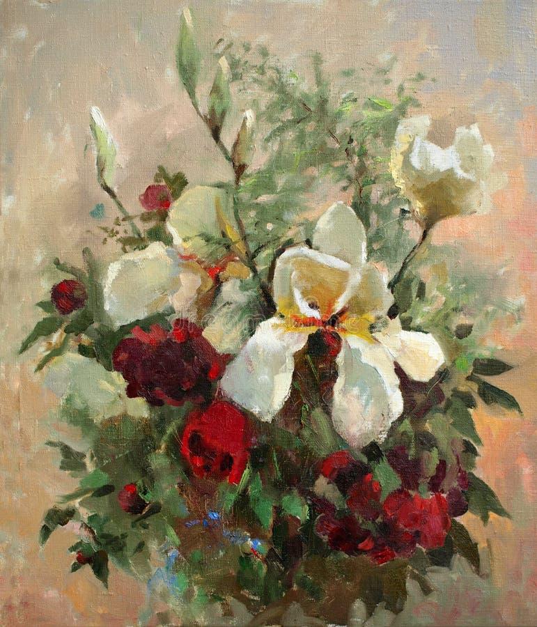 Pintura al óleo de flores stock de ilustración