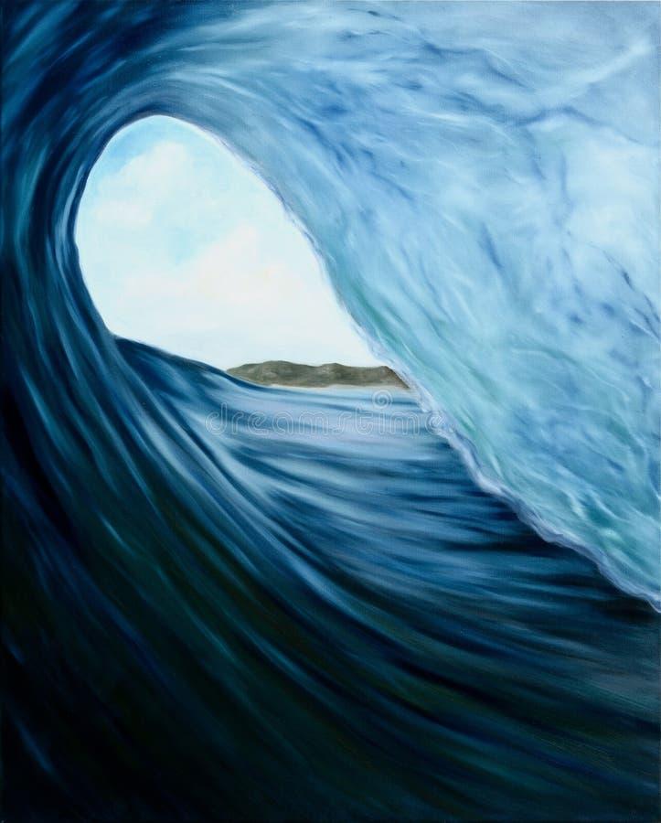 Pintura al óleo de la ola oceánica stock de ilustración