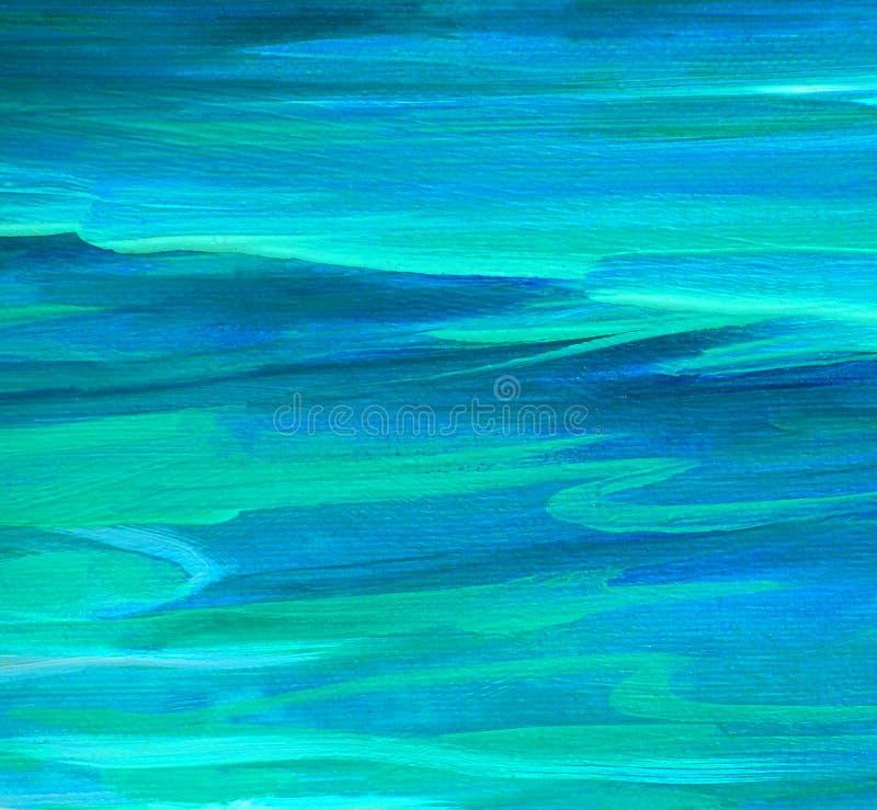 Pintura al óleo de la onda de la turquesa del mar en lona ilustración del vector