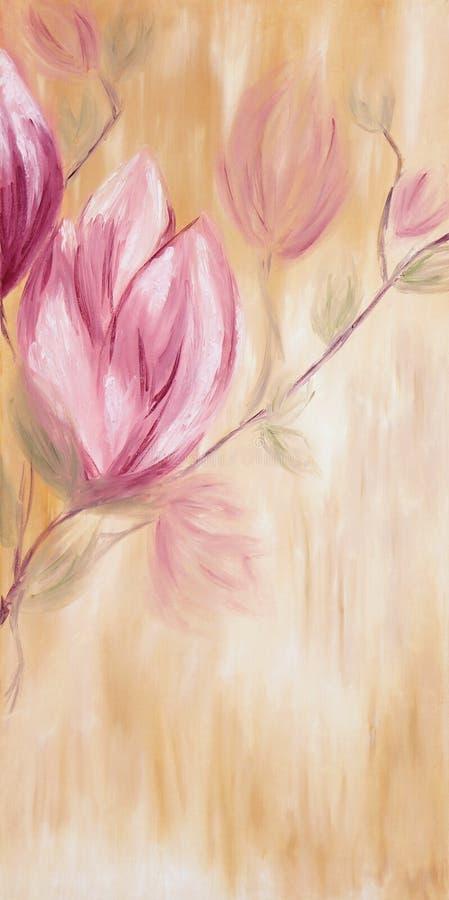 Pintura al óleo de las flores de la magnolia de la primavera stock de ilustración