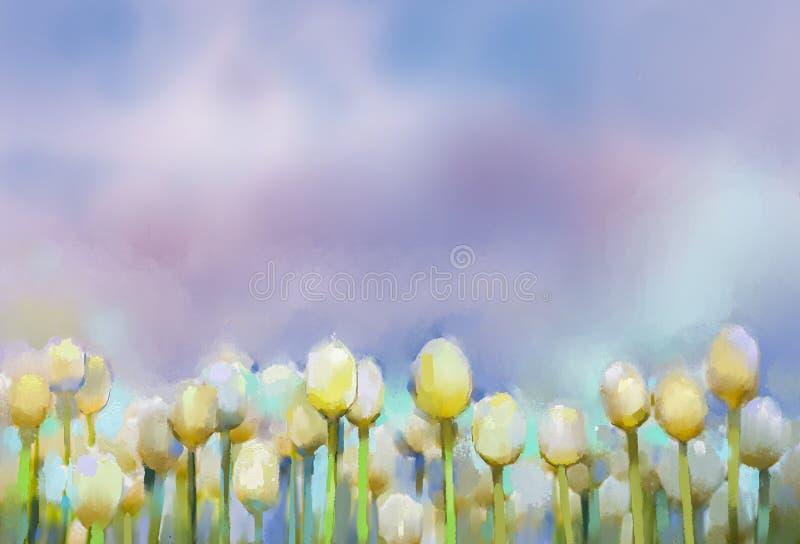 Pintura al óleo de las flores de los tulipanes stock de ilustración