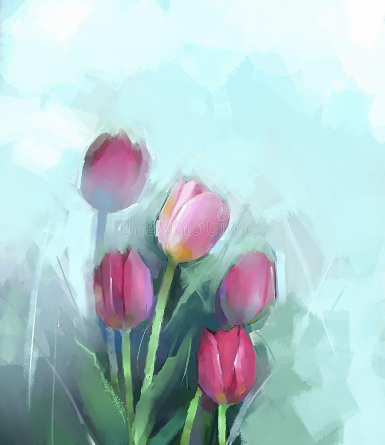 Pintura al óleo de las flores de los tulipanes ilustración del vector