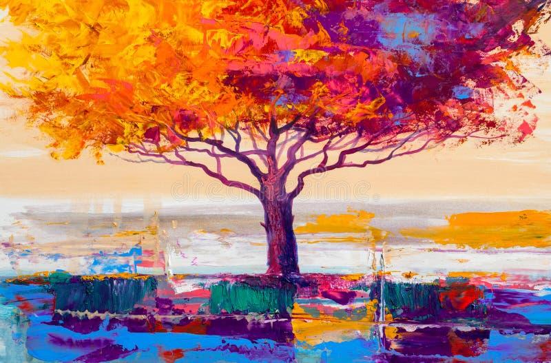 Pintura al óleo del árbol, fondo artístico stock de ilustración