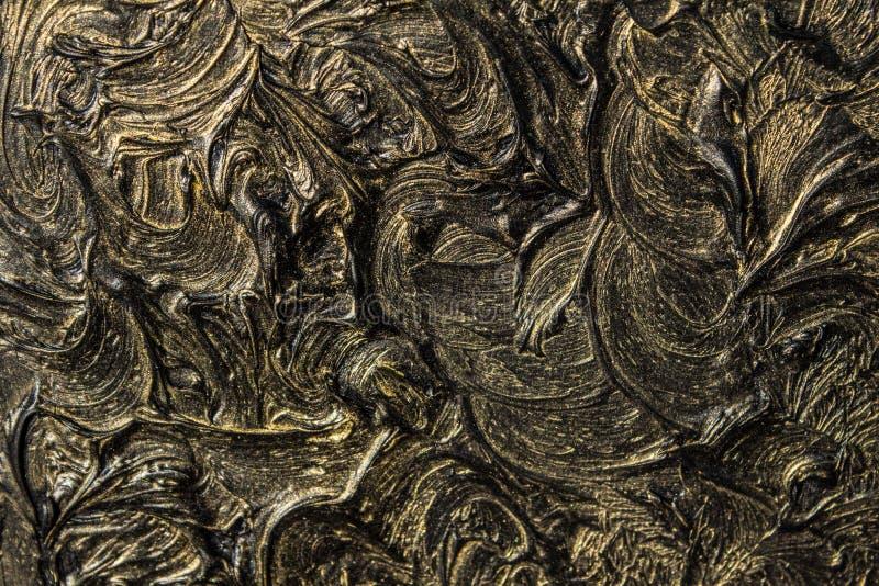 pintura al óleo del arte Ennegrezca el oro cuadro 3d Abstracción volumétrica Textura Fondo fotos de archivo libres de regalías