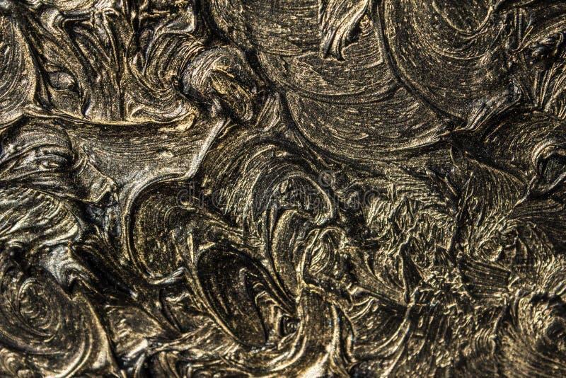 pintura al óleo del arte Ennegrezca el oro cuadro 3d Abstracción volumétrica Textura Fondo foto de archivo