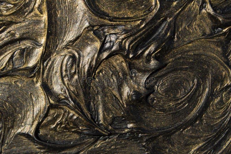pintura al óleo del arte Ennegrezca el oro cuadro 3d Abstracción volumétrica Textura Fondo imagenes de archivo