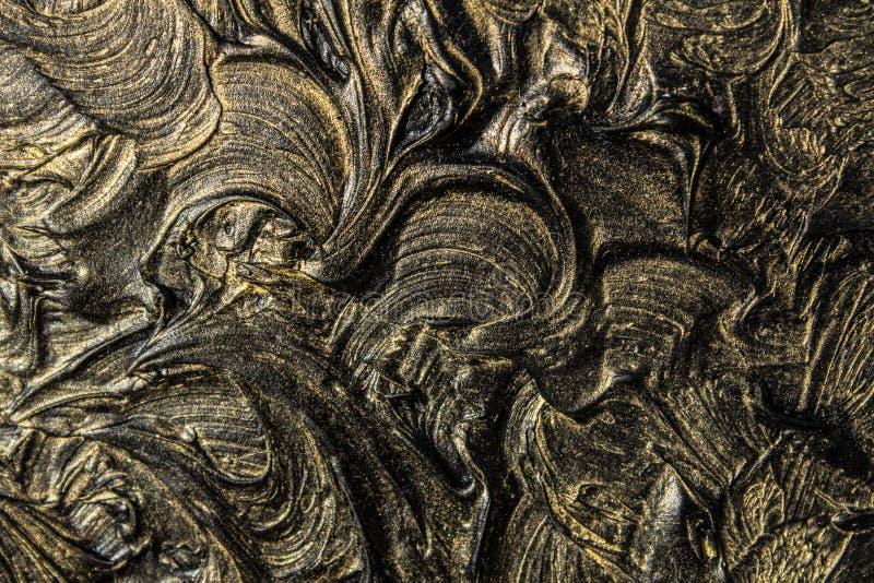 pintura al óleo del arte Ennegrezca el oro cuadro 3d Abstracción volumétrica Textura Fondo foto de archivo libre de regalías