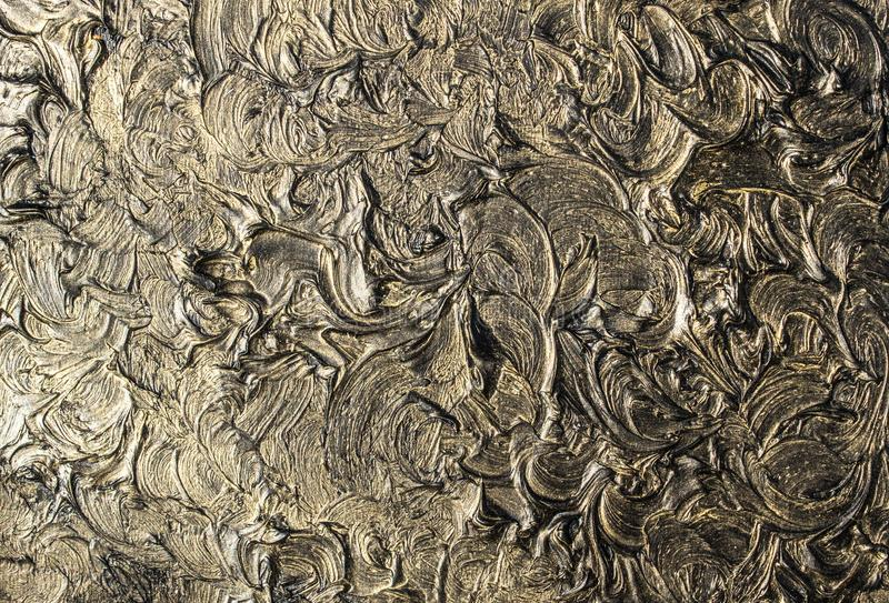 pintura al óleo del arte Ennegrezca el oro cuadro 3d Abstracción volumétrica Textura Fondo stock de ilustración
