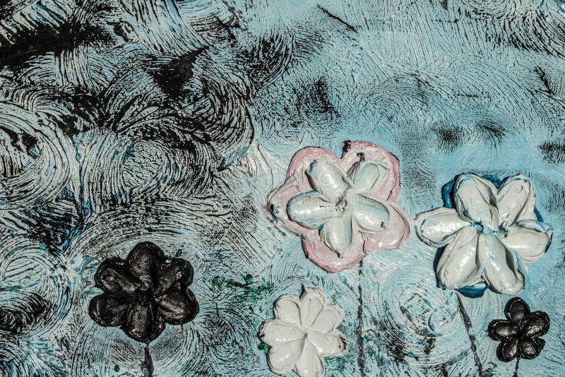 pintura al óleo del arte Fondo de la imagen 3d, textura Flores en lona fotografía de archivo libre de regalías