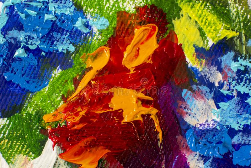 Pintura al óleo dibujada mano Fondo azul abstracto del arte Pintura al óleo en lona Textura del color Fragmento de las ilustracio imágenes de archivo libres de regalías