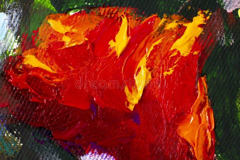 Pintura al óleo dibujada mano Fondo del arte abstracto Pintura al óleo en lona Textura del color Fragmento de las ilustraciones P fotos de archivo