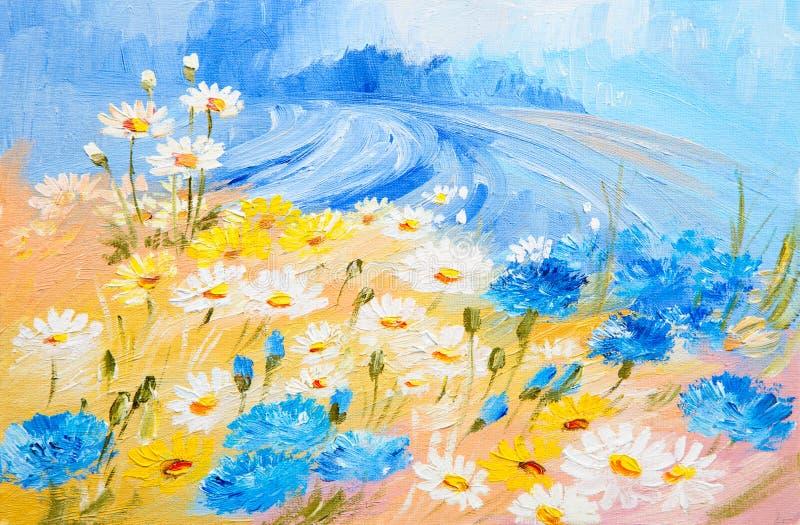 Pintura al óleo - ejemplo abstracto de flores stock de ilustración