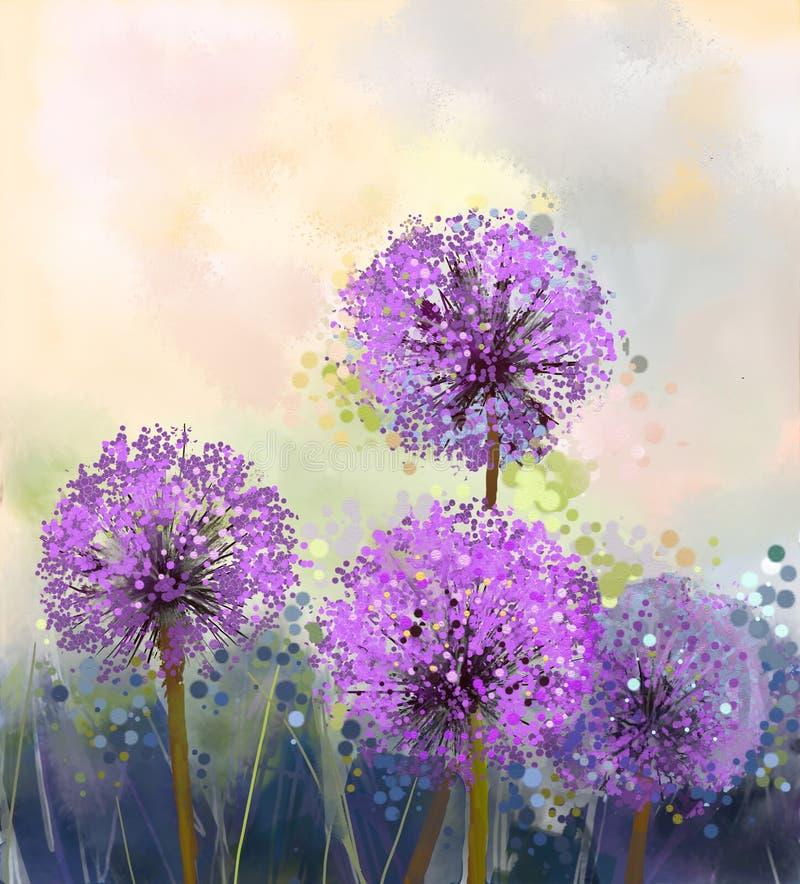 Pintura al óleo Flor de la cebolla púrpura stock de ilustración