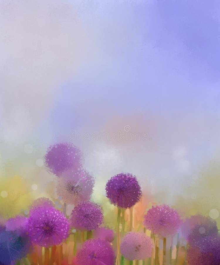 Pintura al óleo, flor purpúrea clara de la cebolla de los colores en colores pastel en los prados ilustración del vector