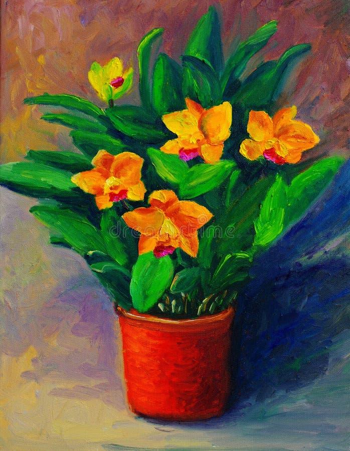 Pintura al óleo - flores en una botella (narcisos) ilustración del vector