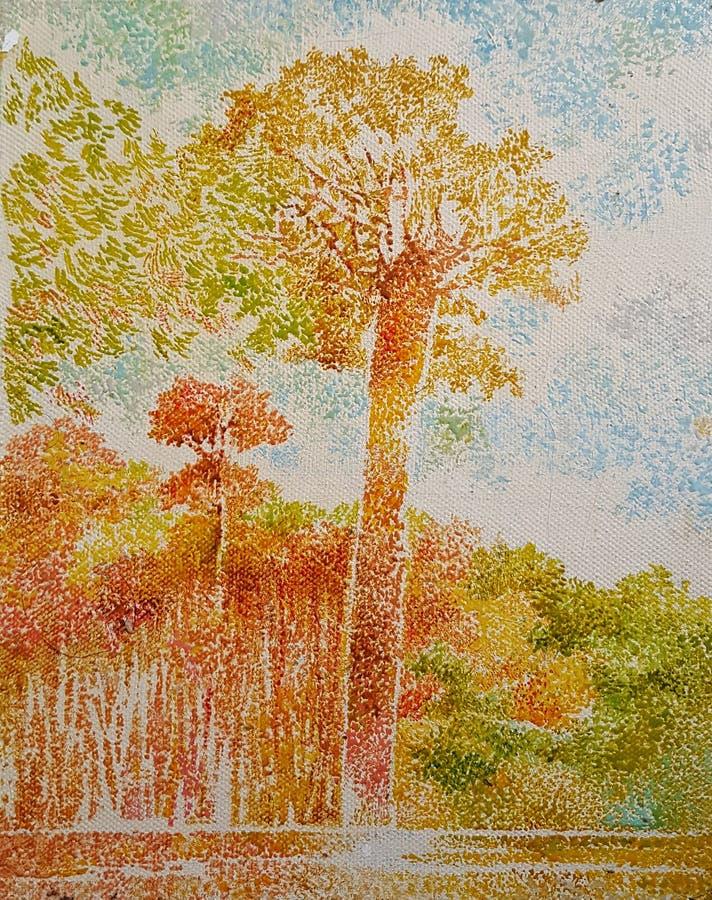 Pintura al óleo gigante del acrílico de la bella arte del bosque del árbol stock de ilustración