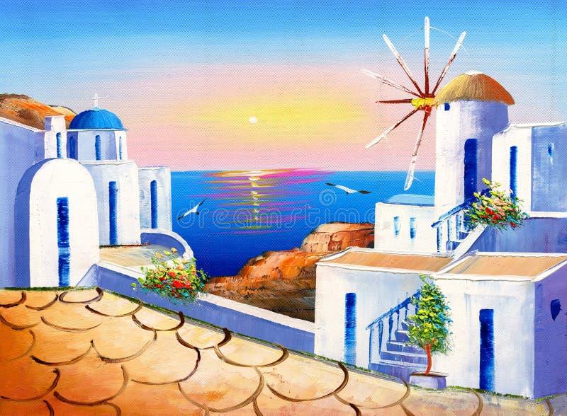Pintura al óleo - Grecia ilustración del vector