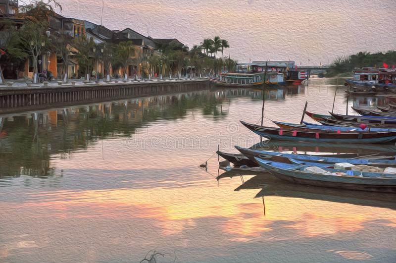 Pintura al óleo hermosa de Hoi, Vietnam del paisaje imagen de archivo libre de regalías