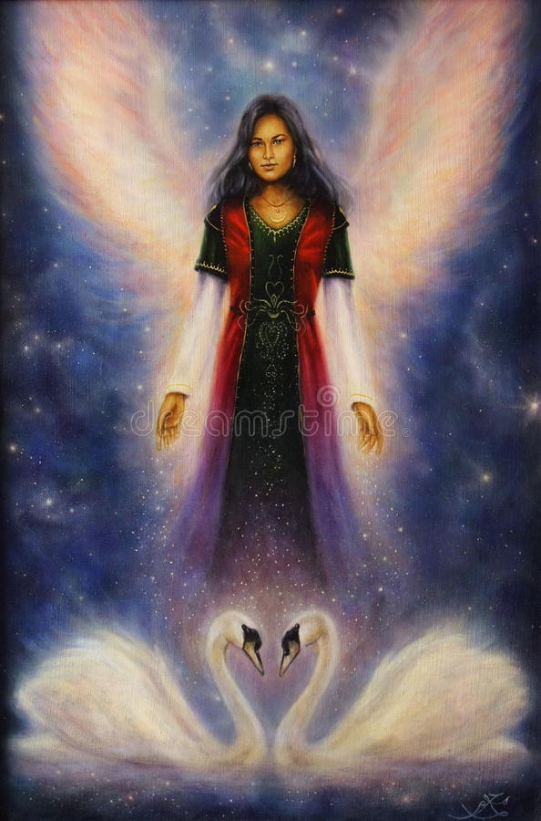 Pintura al óleo hermosa de una mujer del ángel con las alas radiantees stock de ilustración