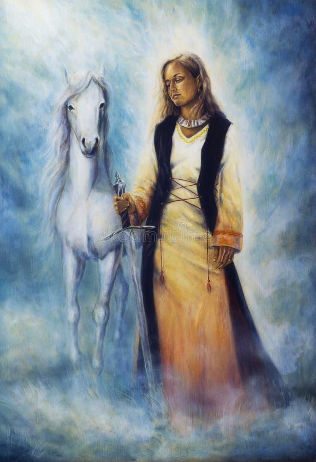 Pintura al óleo hermosa de una mujer mística en vestido histórico stock de ilustración
