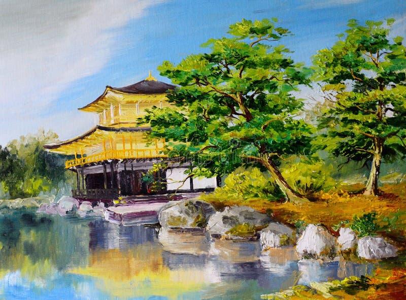 Pintura al leo jard n japon s lago cerca del hogar for Arboles para jardin japones