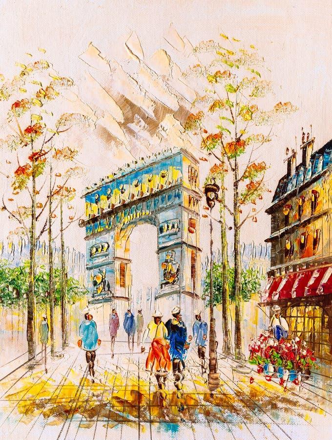Pintura al óleo - opinión de la calle de París stock de ilustración