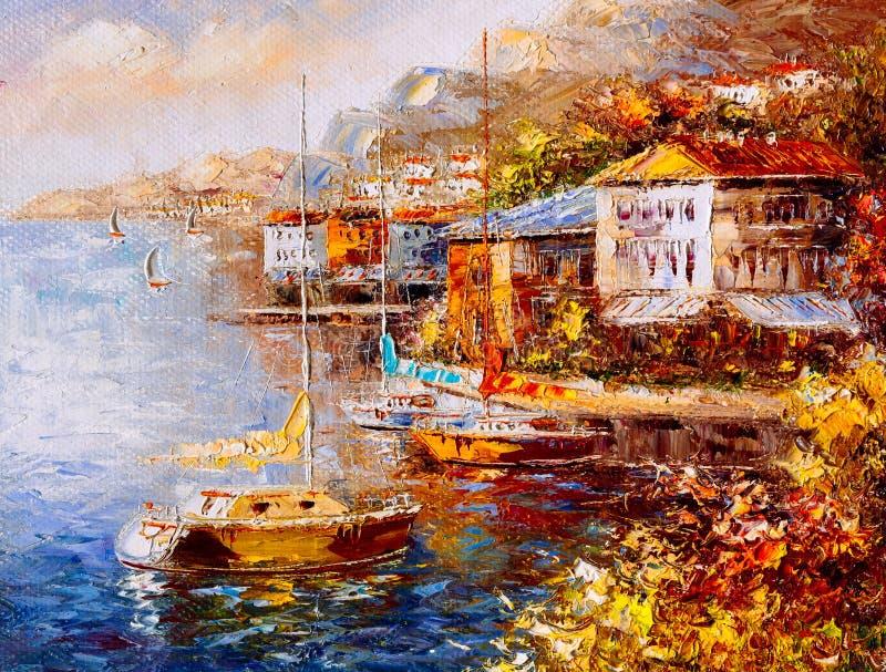 Pintura al óleo - opinión del puerto, Grecia ilustración del vector