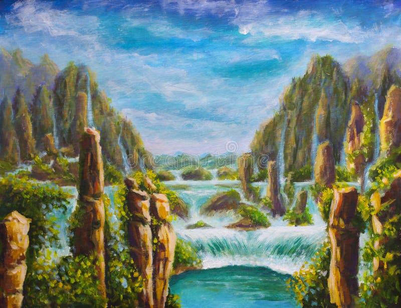 Pintura al óleo original en las altas montañas amarillas en China, cascadas hermosas de la turquesa, naturaleza hermosa, sueños,  ilustración del vector