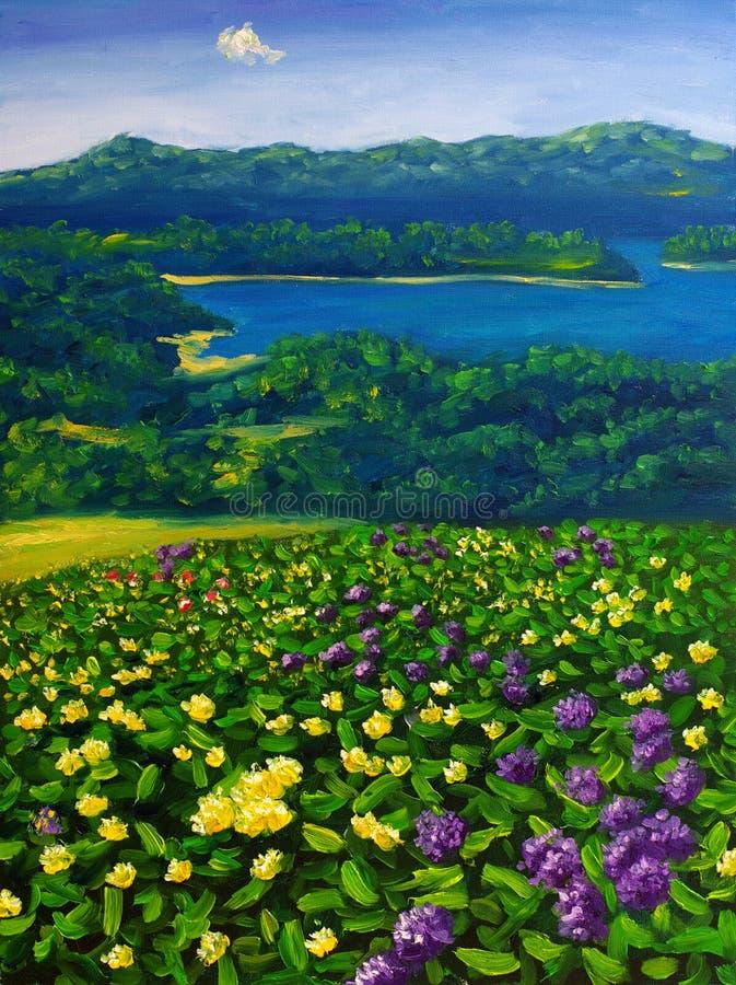 Pintura al óleo - paisaje ilustración del vector
