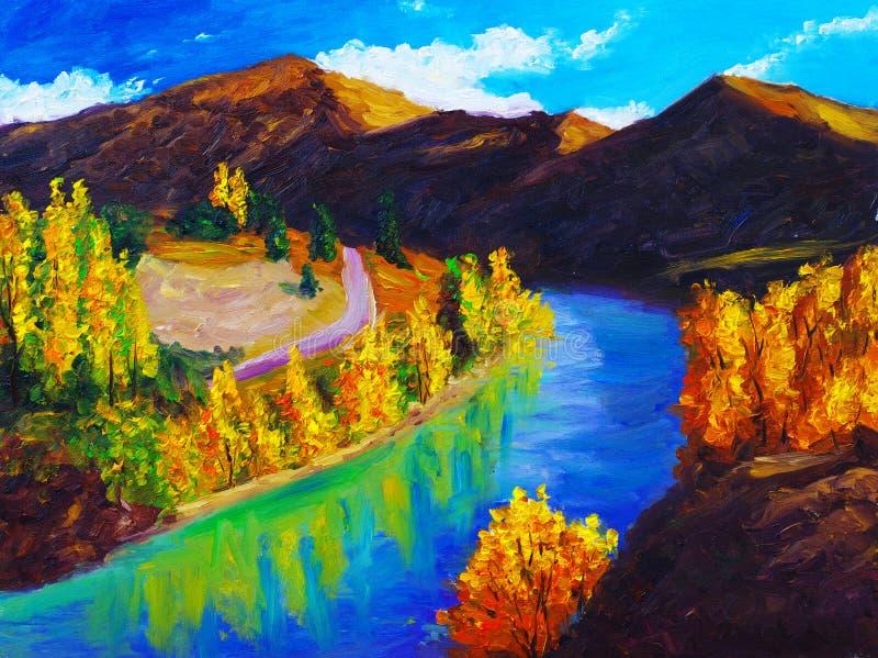 Pintura al óleo - paisaje stock de ilustración
