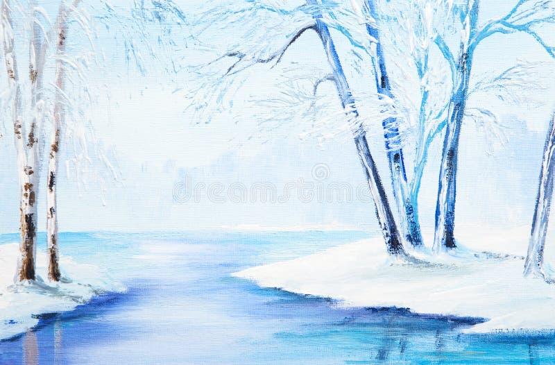 Pintura al óleo - paisaje del invierno, acuarela colorida libre illustration