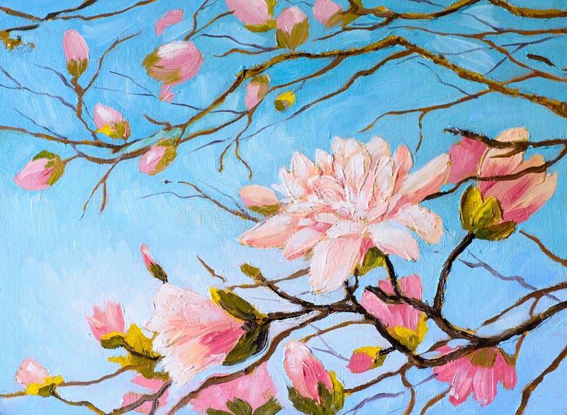 Pintura al óleo - rama de Sakura en el fondo del cielo, dibujo del extracto de Japón ilustración del vector
