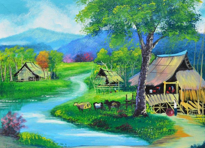 Pintura al óleo rural de la opinión de Tailandia en lona imagenes de archivo