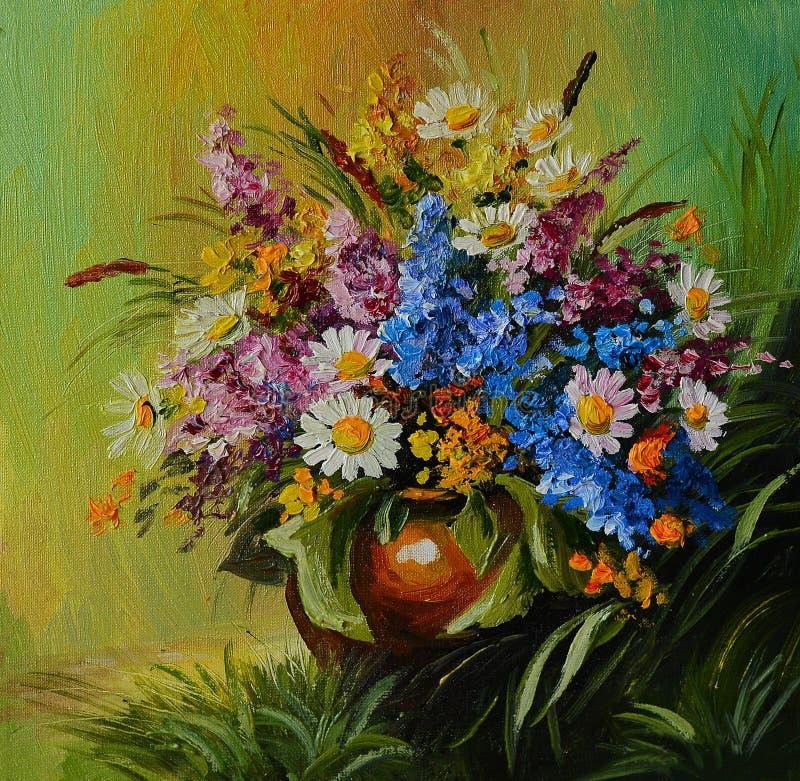 Pintura al óleo - todavía vida, un ramo de flores, margaritas de la lila stock de ilustración