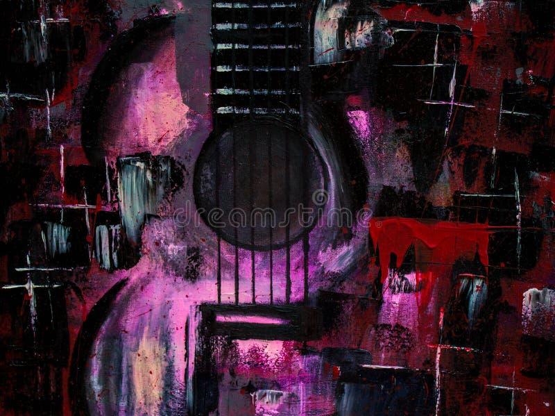 Pintura al ?leo abstracta Arte Guitarra Guitarra roja Fondo, textura imagen de archivo