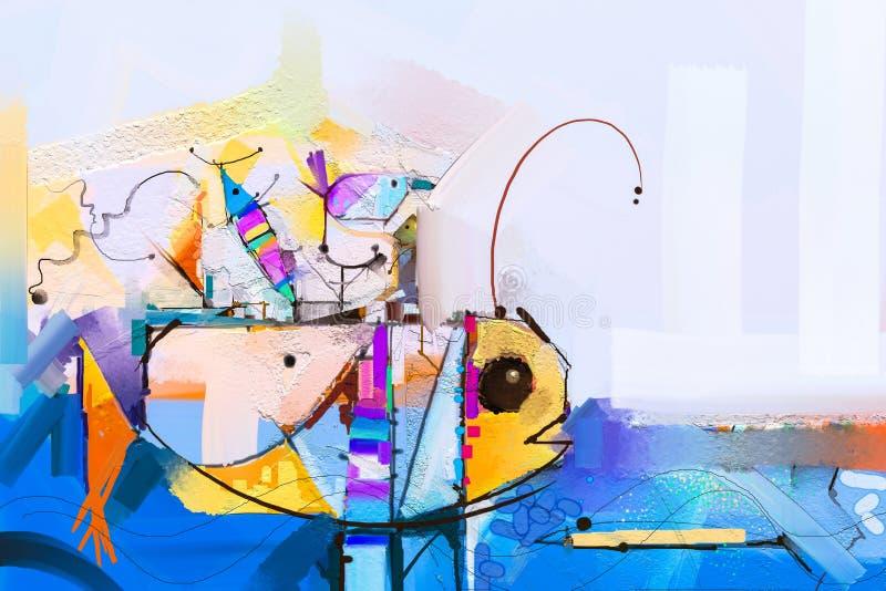 Pintura al ?leo Fantas?a colorida abstracta subacu?tica Arte semi abstracto del ejemplo Imagen de pescados en el mar stock de ilustración