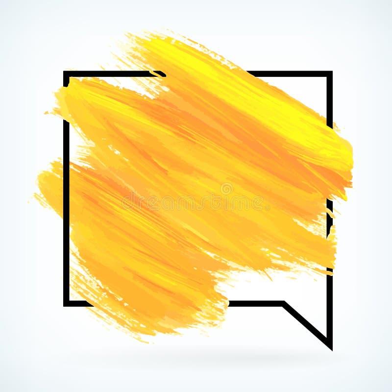 A pintura amarela artística seca o fundo do vetor do curso da escova ilustração royalty free