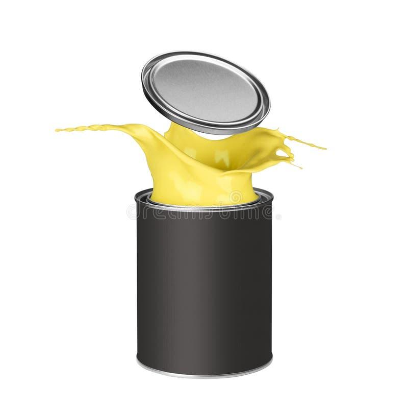 Pintura amarela que espirra fora da lata da pintura ilustração stock