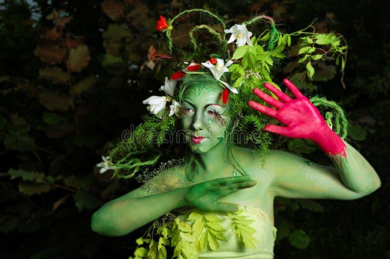 Pintura ambiental verde de la cara foto de archivo libre de regalías