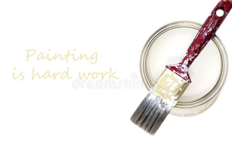 Pintura & escova brancas fotografia de stock