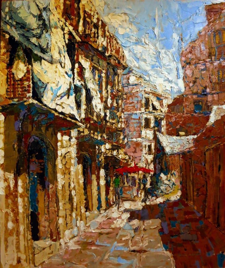 Pintura antiga da cidade de Itália em cores de óleo acrílicas foto de stock