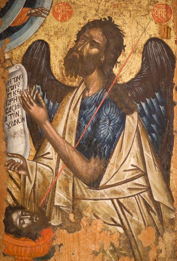 Pintura antigua con Saint John el Bautista foto de archivo libre de regalías