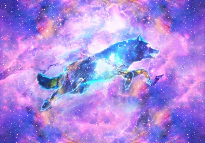 Pintura artística de Digitaces del extracto de Wolf In colorido un fondo de la nebulosa libre illustration
