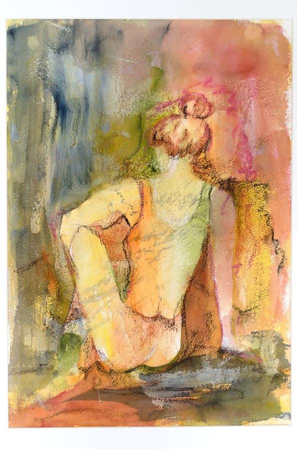 Pintura artística de la acuarela de una mujer agraciada imagen de archivo libre de regalías