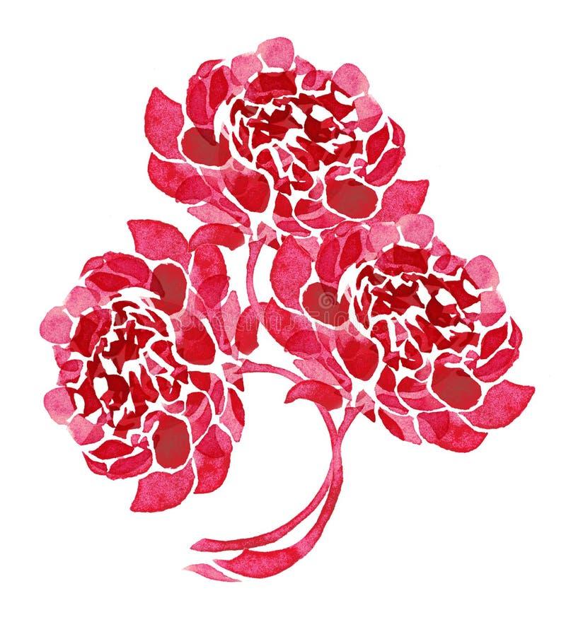 Pintura artística del ramo hermoso de tres peonías stock de ilustración